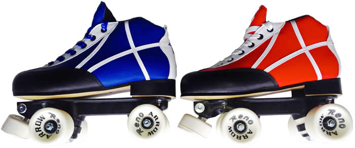 Reno quad blue white and red white hockey skates